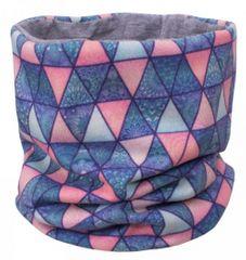 Unuo Dívčí nákrčník fleece Triangl mandaly - fialový