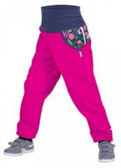 Unuo Dívčí softshellové kalhoty s fleecem Květinky Fuchsie - růžové