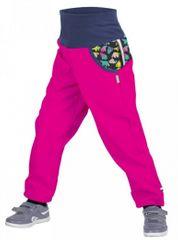 Unuo dječje softshell hlače s flisom i medvjedima, ružičaste