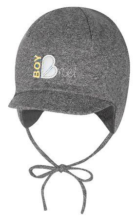 Broel chlapecká čepice Basic s vázáním 39 šedá