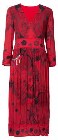 Desigual ženska obleka Vest Clam, 36, rdeča