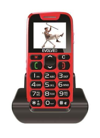 Evolveo Telefon EasyPhone ze stacją ładującą, czerwony