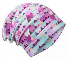 Unuo Dívčí čepice fleece Mini trojúhleníčky - fialová