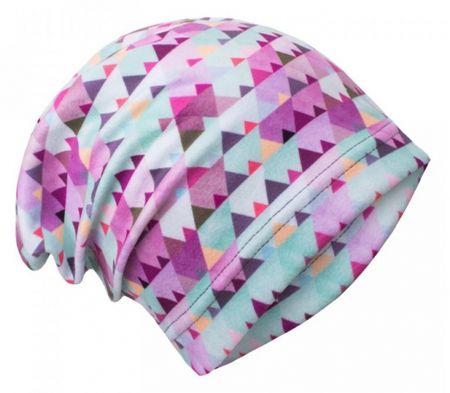 Unuo Dívčí čepice fleece Mini trojúhleníčky 44/47 fialová