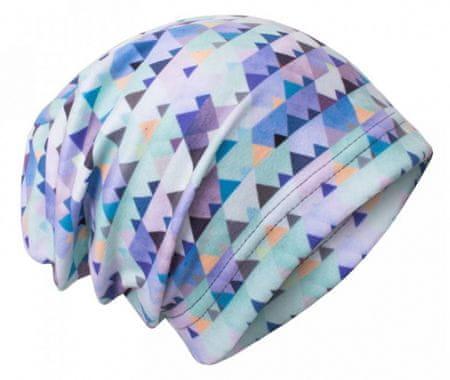 Unuo Chlapecká čepice fleece Mini trojúhelníčky 44/47 modrá