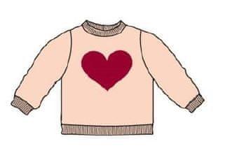 Carodel dekliški pulover z motivom srca, 62, bel