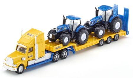 SIKU model ciężarówki z 2 traktorami New Holland 1:87