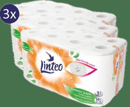 LINTEO beli toaletni papir, 3-slojni, 3 x 16 rolic