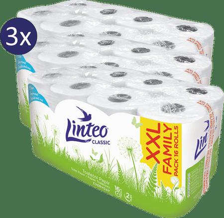 LINTEO Classic Toaletní papír 2-vrstvý, 3 x 16 rolí