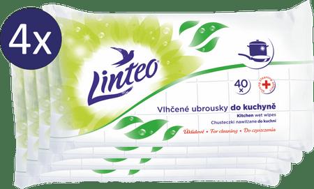 LINTEO Nedves törlőkendő konyhához 4 x 40 db