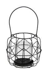 Koopman Závesný kovový svietnik s veľkou sklenenou nádobkou