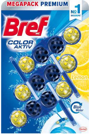 Bref čistilo za wc školjko Color Aktiv Lemon, 3 x 50 g