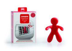 Mr&Mrs Fragrance Automobilová vůně, panáček do auta CESARE BOX, Pepper Mint - peprmint/máta, červená barva