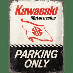 Postershop Plechová tabuľa: Kawasaki Parking Only