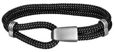 Troli Črna tekstilna zapestnica z jeklenim kavljem