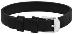 Troli Kožený náramek na navlékání přívěsků černý/ocelový Unique