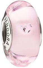 Pandora Romantický sklenený korálik so srdiečkami 791632PCZ striebro 925/1000