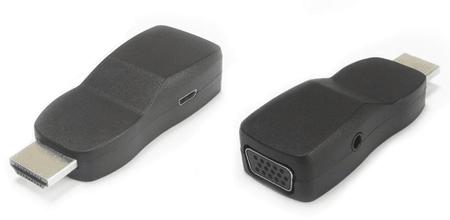 PremiumCord Miniatűr kialakítású átalakító HDMI-ről VGA-ra töltő csatlakozóval, fekete khcon-21