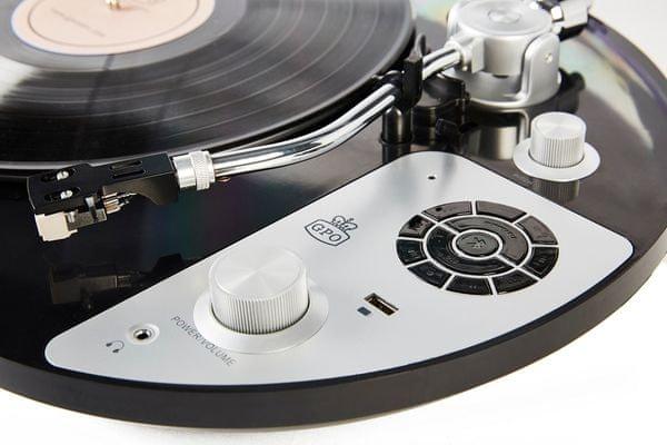 GPO Retro PR 50 retró gramofon állítható kiegyensúlyozású Audio Technica lejátszófejjel