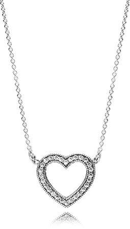 Pandora Ezüst nyaklánc szerető szív 590534EN-45 ezüst 925/1000