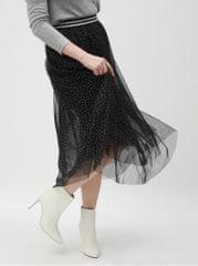 TALLY WEiJL stříbrno-černá puntíkovaná midi sukně
