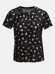 TALLY WEiJL černé sametové květované žebrované tričko