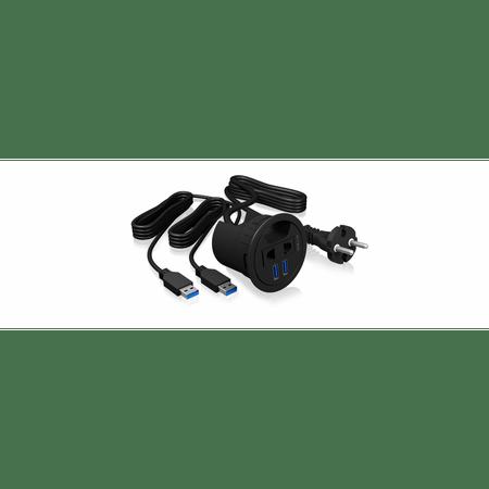 IcyBox USB vozlišče IB-HUB2201 za vgradnjo v mizo z dodatno vtičnico 220V