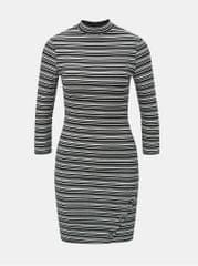 TALLY WEiJL bílo-černé pruhované pouzdrové šaty s 3/4 rukávem