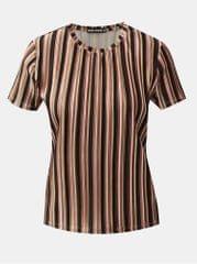 TALLY WEiJL černo-hnědé sametové pruhované žebrované tričko