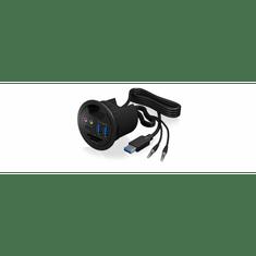 IcyBox USB razdjelnik 2x USB 3.0, 1x USB-C, audio 3,5mm, čitač kartica