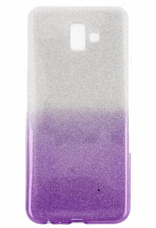 ovitek Bling za Samsung Galaxy J4 Plus 2018 J415, srebrn z vijola bleščicami