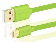 AXAGON przewód ze złączem MicroUSB <-> USB A, do transmisji danych i ładowania BUMM-AM05QG, HQ, 2 A, zielony, 0,5 m
