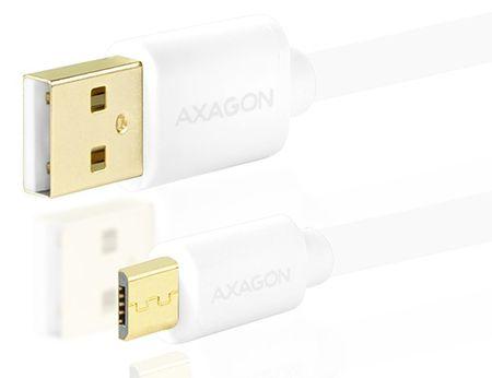 AXAGON BUMM-AM05QW, HQ Kabel MicroUSB <-> USB A, datový a nabíjecí 2 A, bílý, 0,5 m