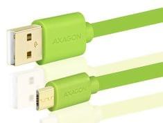AXAGON BUMM-AM10QG, HQ Kabel MicroUSB <-> USB A, datový a nabíjecí 2 A, zelený, 1 m