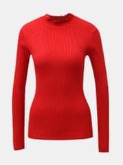 Jacqueline de Yong červené žebrované tričko se stojáčkem Plum
