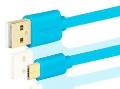 AXAGON przewód ze złączem MicroUSB <-> USB A, do transmisji danych i ładowania BUMM-AM10QL, HQ, 2 A, niebieski, 1 m