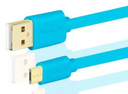 AXAGON BUMM-AM10QL, HQ Kabel MicroUSB <-> USB A, datový a nabíjecí 2 A, modrý, 1 m
