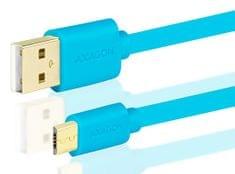 AXAGON BUMM-AM20QL, HQ Kábel MicroUSB <-> USB A, adat- és töltőkábel 2 A, kék, 2 m
