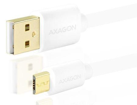 AXAGON BUMM-AM20QW, HQ Kabel MicroUSB <-> USB A, datový a nabíjecí 2 A, bílý, 2 m