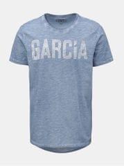 Garcia Jeans modré žíhané pánské tričko s potiskem