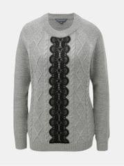 Dorothy Perkins Tall šedý svetr s krajkovým detailem