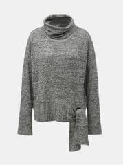 VILA šedý žíhaný svetr s rolákem se zavazováním na boku Himla