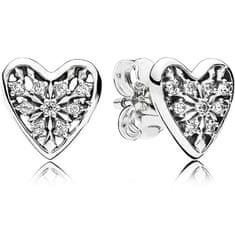 Pandora Ezüst szív szív fülbevalók 296368 ezüst 925/1000