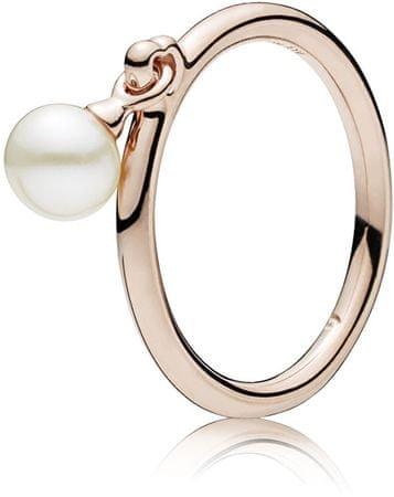 Pandora Bronzový prsten s pravou perlou 187525P (Obvod 52 mm) stříbro 925/1000