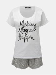 ZOOT šedo-bílé dámské dvoudílné pyžamo s potiskem