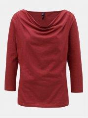 Tranquillo červené tričko s řasením ve výstřihu Bellona