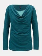 Tranquillo petrolejové tričko s řasením ve výstřihu Annea