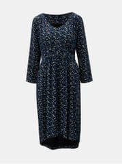 Tranquillo modro-černé vzorované šaty s prodlouženou zadní částí Aradia
