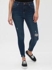 Miss Selfridge tmavě modré super skinny džíny s potrhaným efektem Lizzie