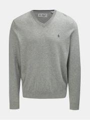 Original Penguin světle šedý žíhaný svetr s véčkovým výstřihem